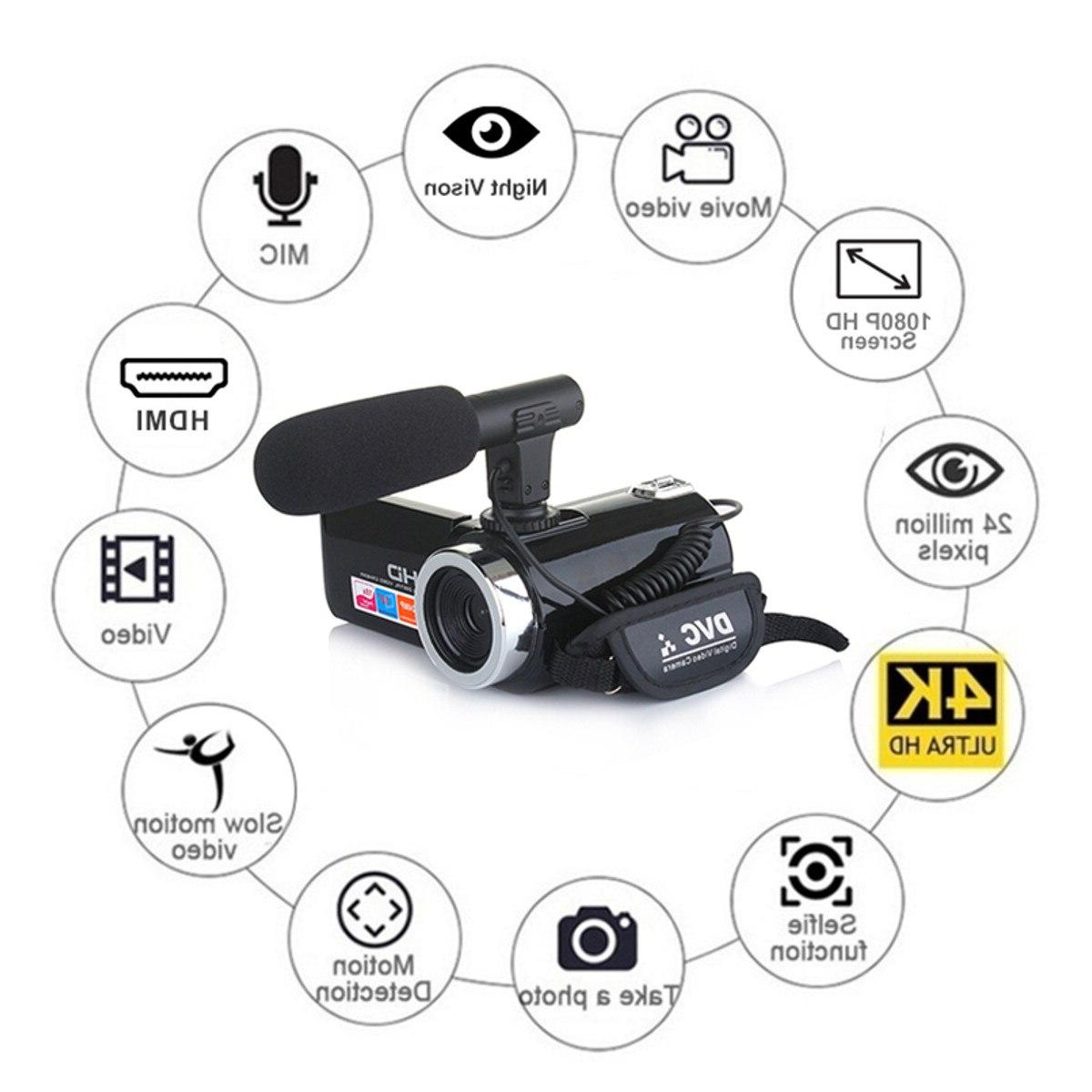 Multifunctional Camcorder <font><b>Video</b></font> 1080P HD LCD Mic