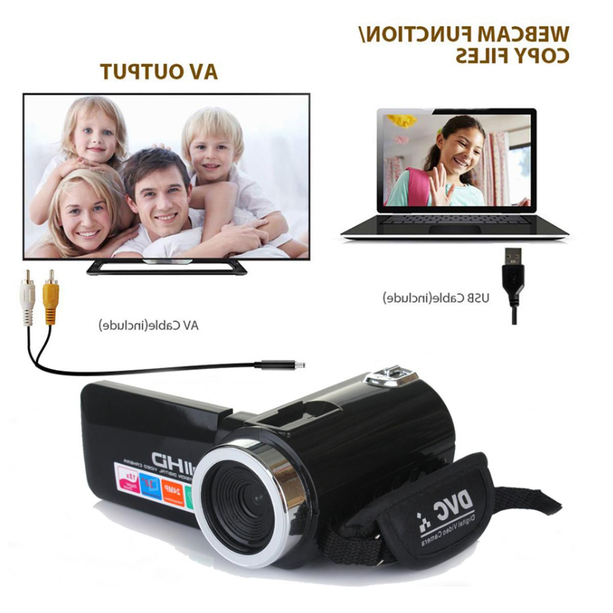 Multifunctional Camcorder <font><b>Video</b></font> 1080P LCD 18X Zoom <font><b>Camera</b></font> Mic