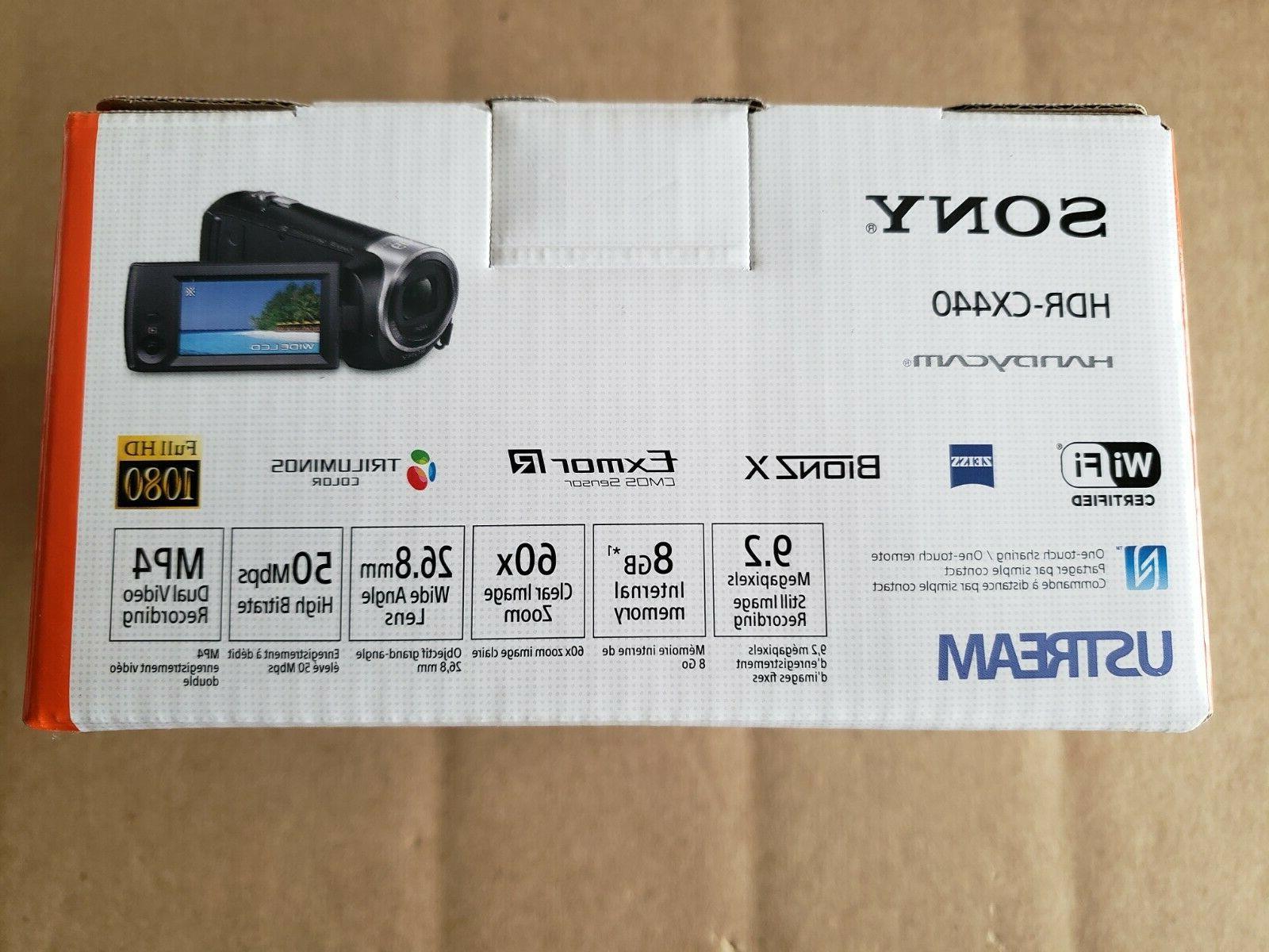NEW!! Sony 8GB Wi-Fi 1080p Video Camcorder Black