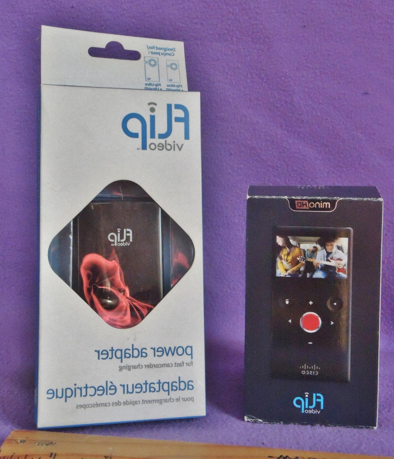 NIB Flip Video Mino HD M3160B 4GB Camcorder Black + Power Ad
