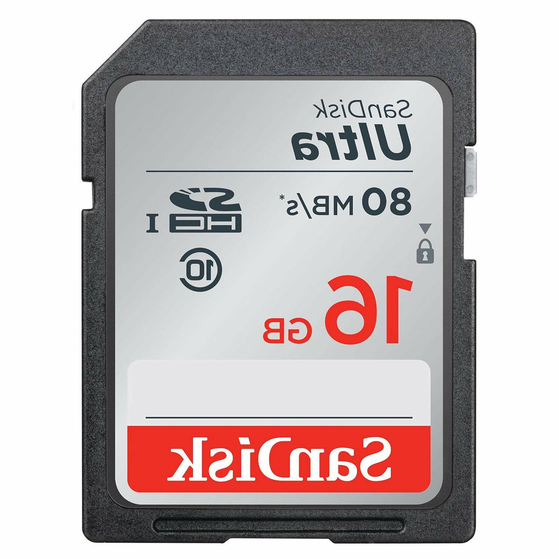 SanDisk 16GB SD 16G SDHC Ultra 80MB/s Class 10 533X UHS-I Ca