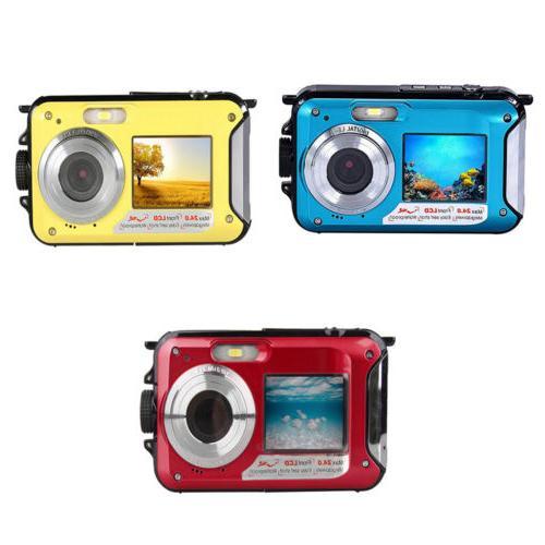 "Sport Camera 2.7"" LCD Dual Screen 1080P FHD 24MP 30M Waterpr"
