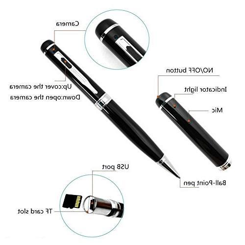 Bysameyee Camera Pen HD Portable Video Camcorder 5 Ink Refills, Reader