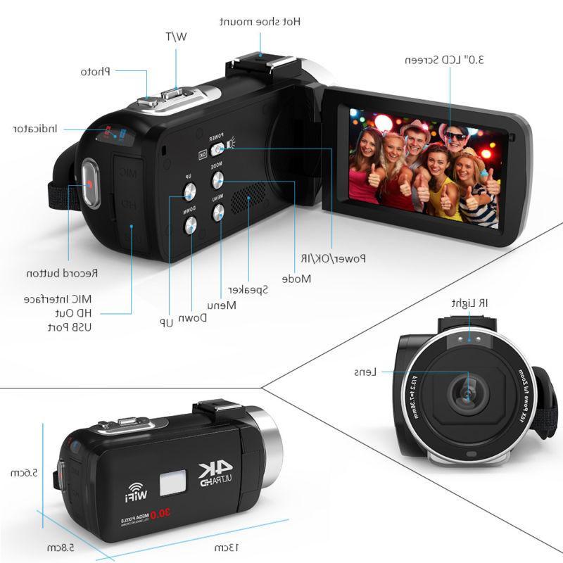 WiFi ULTRA HD 1080P 48MP Camera Camcorder Recorder