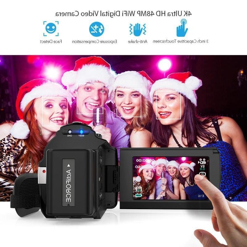 WiFi ULTRA HD 1080P 48MP Digital Camera Recorder DV+Mic+Lens