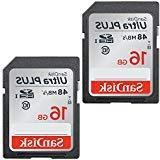 2 Pack 16GB Sandisk Ultra Plus Class 10 48mb/s SDHC SD Memor