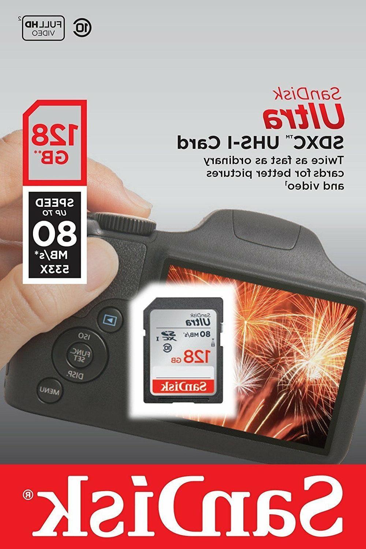 SanDisk 128GB Ultra SDXC SDHC SD 80MB/s 533x Camera Memory C