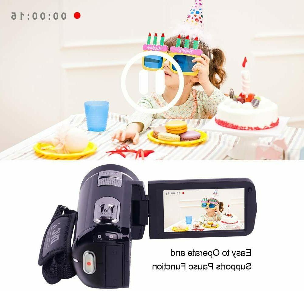 "Video Camcorder 1080P 24.0MP 3"" LCD Screen 18X Digital Vision"