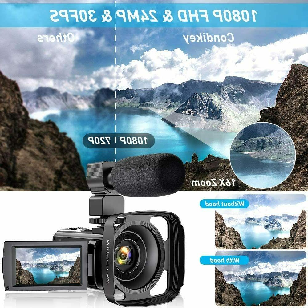Video Camcorder YouTube, FHD 1080P 24MP