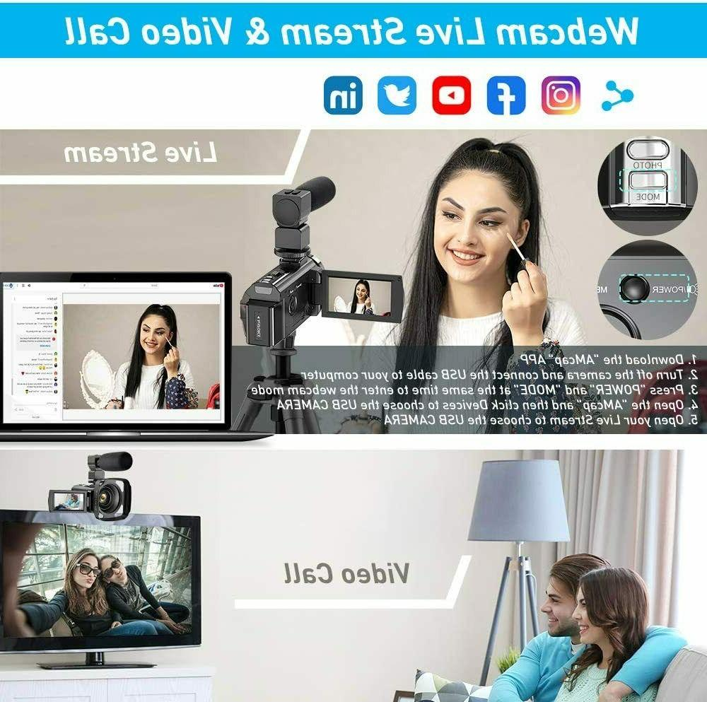 Video Camera Camcorder for YouTube, 1080P 24MP Digital