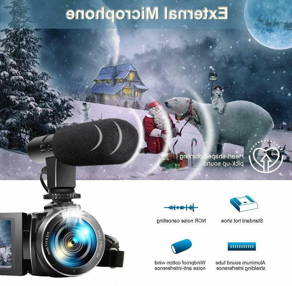Video Camera Camcorder, Vlogging Camera Full 30FPS 3'' LCD Screen