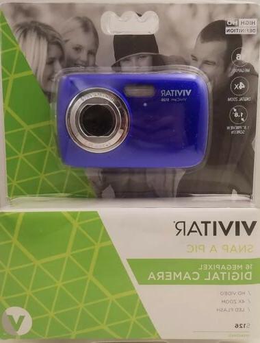 Vivitar ViviCam S126 16MP Digital Camera Blue HD 4X Zoom LED