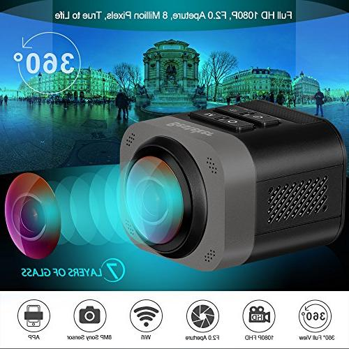 VR Camera, Besteker Full View Wireless Sports with Full-Wave Sphere Video Camcorder-Black