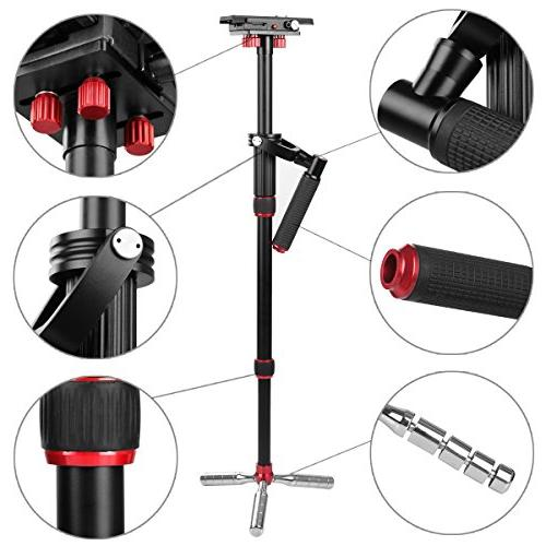 """Kamisafe VS1032 Handheld 43""""/110cm Camera Steadicam Tripod Quick 3/8"""" Screw, to 11lbs Compatible with DSLR Gopro Cellphone"""