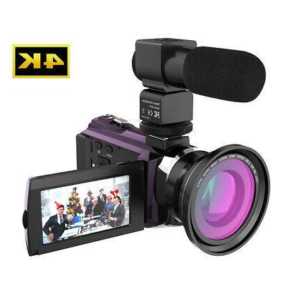 Andoer WiFi 4K HD 1080P 48MP Video Camera DVR & Mic & Lens