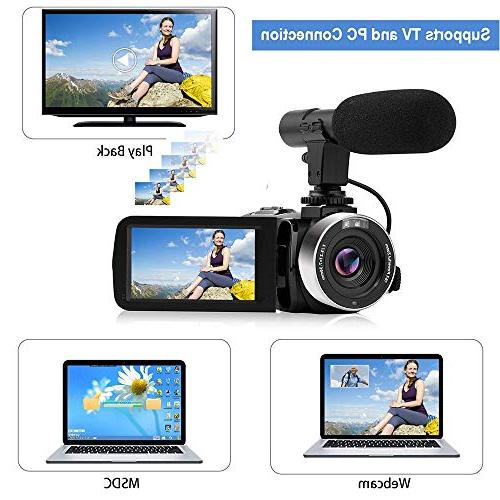 Digital Camera Full 1080P 30FPS Zoom Vlogging Microphone Screen Support Control Time-Lapse Night