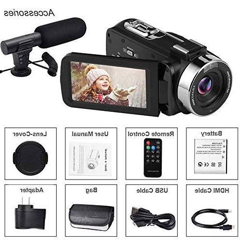 Video Digital HD 1080P Zoom Vlogging Microphone 3.00 Screen Remote Time-Lapse