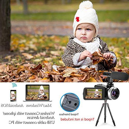Video Camera WiFi Digital 1080P 30FPS Zoom Vlogging Camera with Microphone 3.00 Rotatable Screen Remote Time-Lapse