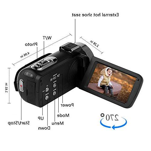 Digital 1080P 30FPS 16X Zoom Vlogging Microphone 3.00 Touch Screen Support Remote Control Time-Lapse