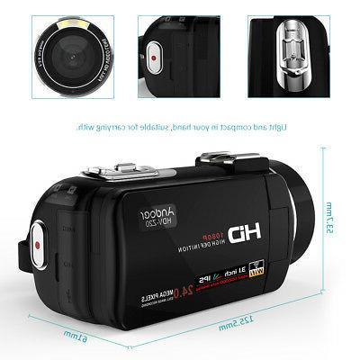 Andoer WiFi IPS HD Camera Camcorder DV Microphone