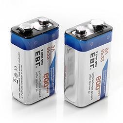 EBL 600mAh 9 Volt Li-ion Rechargeable 9V Batteries Lithium-i
