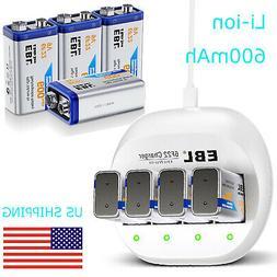 4x EBL 600mAh Li-ion 9V Rechargeable Batteries +4Slot 9-Volt