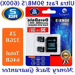 2X 32GB Micro SD SDHC Memory Card Plus Adapter Pack  32 GB U