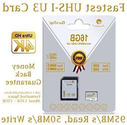 16GB Micro SDHC U3 Card Plus SD Adapter Pack. Amplim Extreme