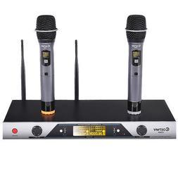 New Audio 2x200 Channel UHF Wireless Hand Held Microphone Mi