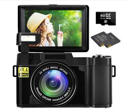 "NEW Digital Vlogging Camera 2.7k Full HD 30MP 3"" Flip LCD Di"