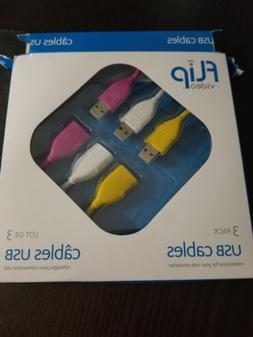 NEW Flip Video 3 Pack HDMI Cables Audio Video 1080p HDTV 6.5