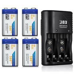EBL 4x 9V NI-MH Rechargeable Battery for Smoke Detectors & M
