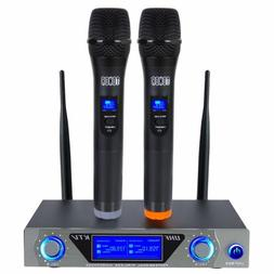 Pro VHF Wireless 2 Channel Dual Handheld Microphone Mic Syst
