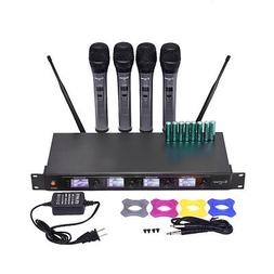 Professional 4 Channel VHF Handheld Wireless Microphone Syst