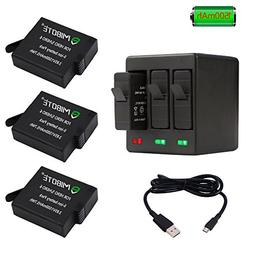 MIBOTE Rechargeable Battery 3 Pack x 1500mAh and Triple Char