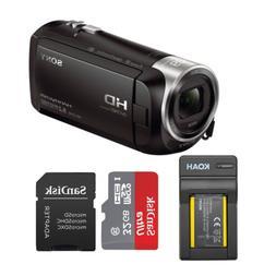 Sony HDRCX440 Handycam HD Camcorder w/ 32GB Micro SD Card &