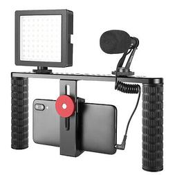 Smartphone Video Rig Handle Grip Stabilizer with Microphone