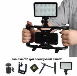 Smartphone Video Rig Kit Handheld Grip Stabilizer w/ 160 LED
