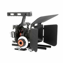 YaeCCC Video Stabilizer Kit 15mm Rod Rig Camera Cage+Follow