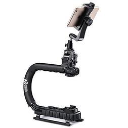 Zeadio Triple Hot-Shoe Mounts Handheld Stabilizer + Smartpho