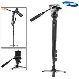 YUNTENG Tripod Monopod Stand W/ Fluid Head For Canon Nikon D