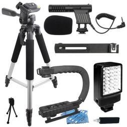 "Professional 57"" Tripod + Deluxe LED Video Light + Mini Co"