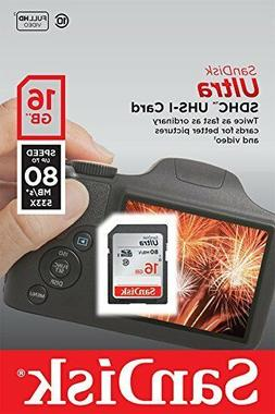 SanDisk Ultra 16GB Class 10 SDHC Memory Card Up To 40MB/s- S