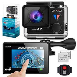 GeeKam WiFi Sports Action Camera 4K 30fps Ultra HD Touch Scr