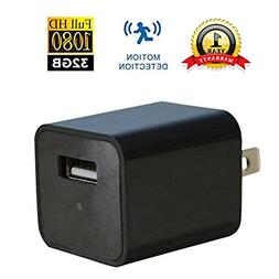 USB Wall Charger Camera | HD 1080P | Built-in 32GB Internal