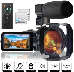 Video Camera Camcorder with Microphone Full HD 1080P 24MP 30