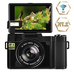 Digital Camera Vlogging Camera 24MP Ultra HD 2.7K WiFi YouTu