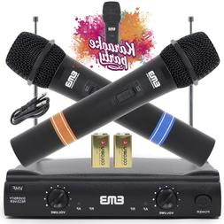 Vocal Karaoke Wireless Microphone System Dual Handheld 2 x M