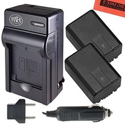 Pack Of 2 VW-VBK180 Batteries And battery Charger for Panaso
