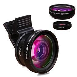 TUPELO 0.45X Wide Angle Lens & 12.5X Micro Lens Kit Clip on